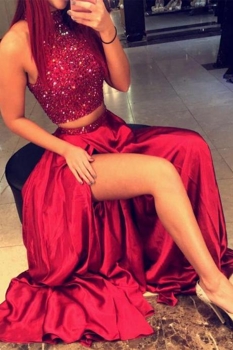 2017 Prom Dresses,Long Prom Dresses,Red High Neck Two Piece Evening Dresses Online Sleeveless Split Prom Dress